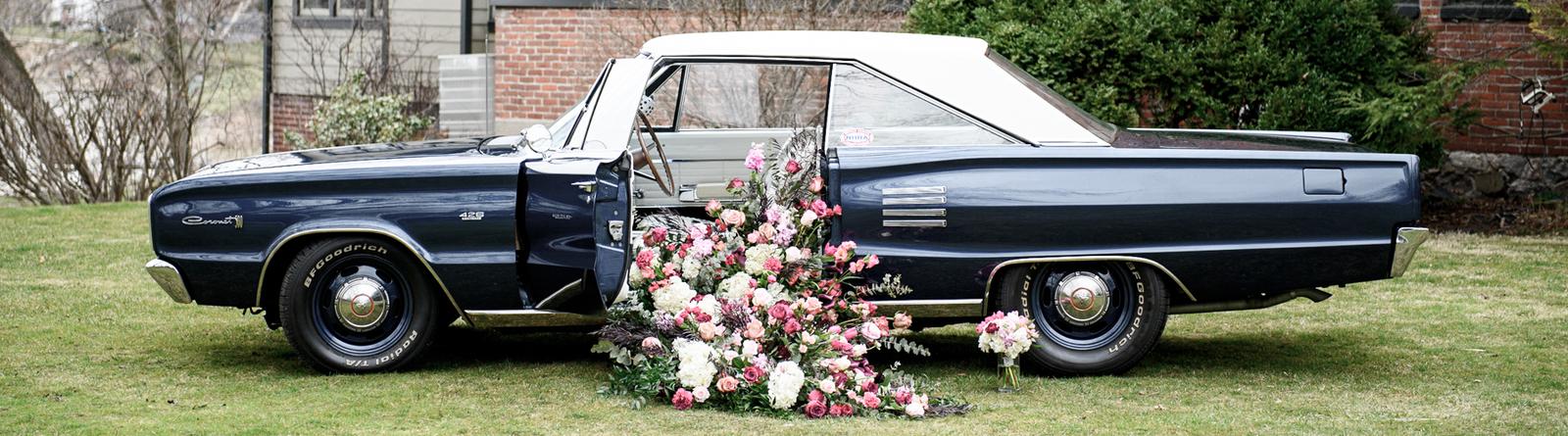 Car with floral arrangement